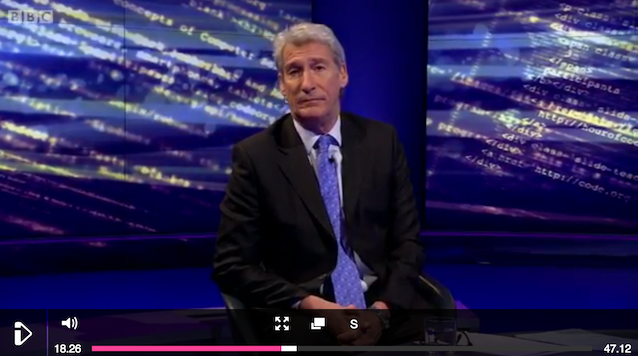 Jeremy Paxman surrounded by 'gobbledygook'.
